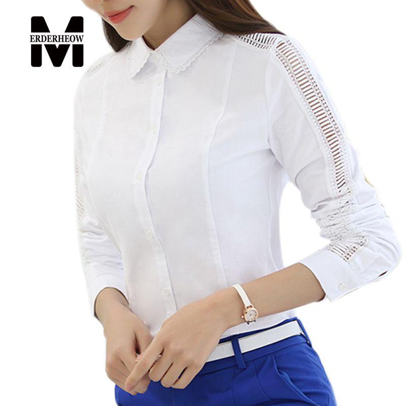4f6d7e4128e Merderheow New 2017 Spring Fashion Korean Style Women Hollow Out Patchwork  Design Casual Blouse High Quality Elegant Shirt J261  Blouse designs
