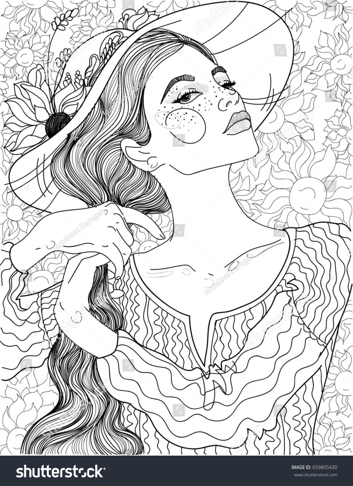 Beauty Long Braid Sunflowers Rural Girl In Hat Coloring Pages