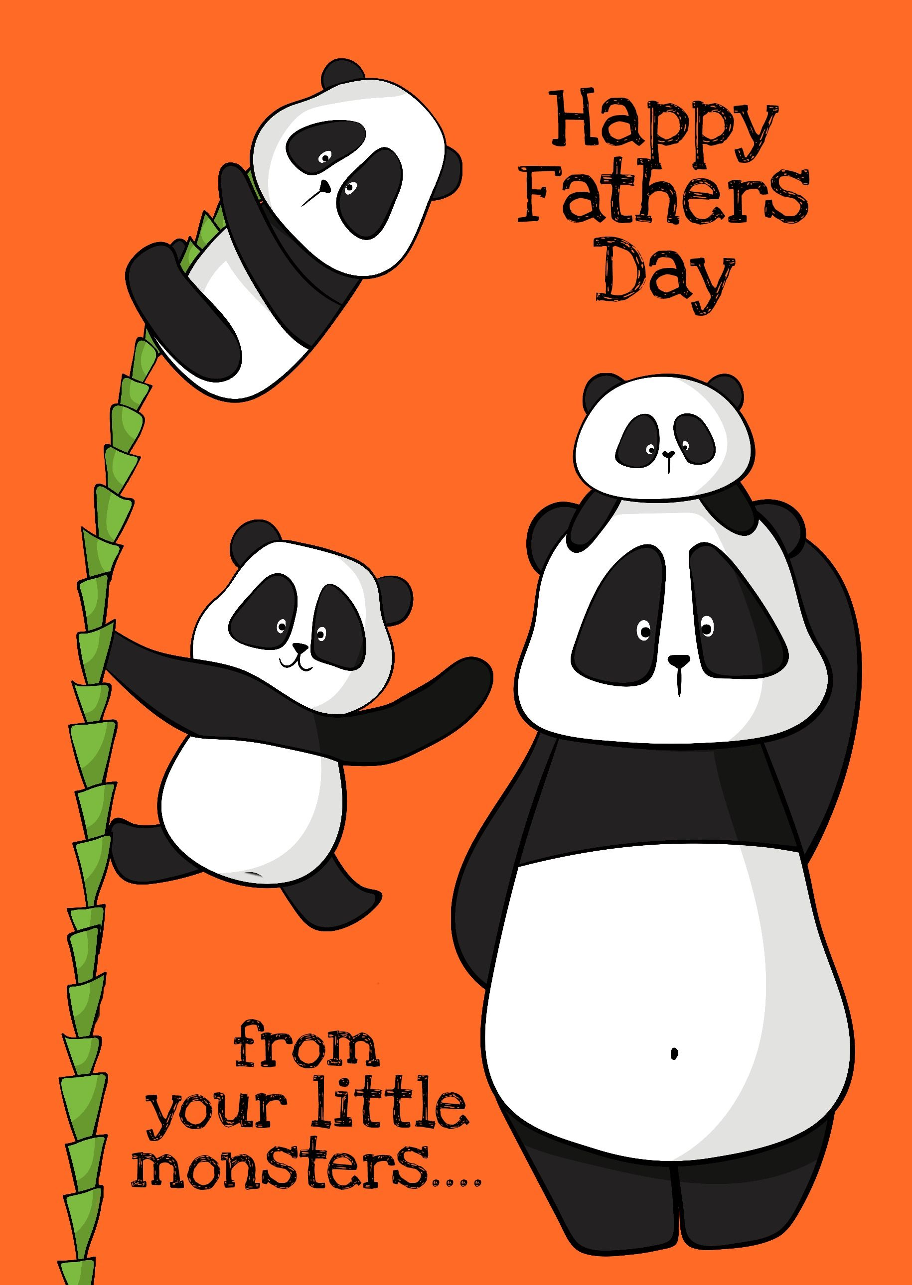 Cute panda fathers day card by mums the boss printed by