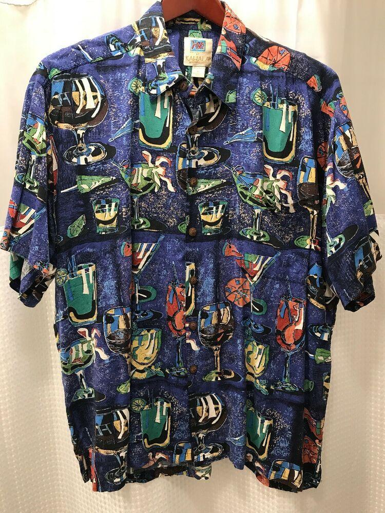 a7ffc41f Kahala Avi Mens Hawaiian Shirt Size XL Short Sleeve Retro Drinks Cocktail  Aloha #Kahala #Hawaiian