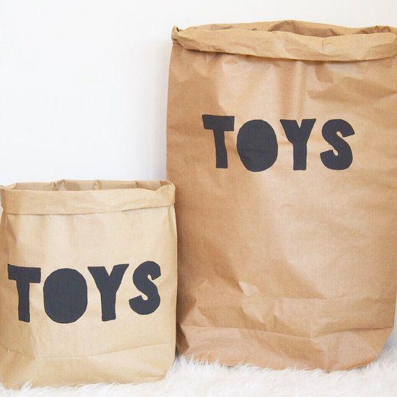 Toys Storage. Paper Storage Sack. Kraft Paper by WhiteMoonDesign