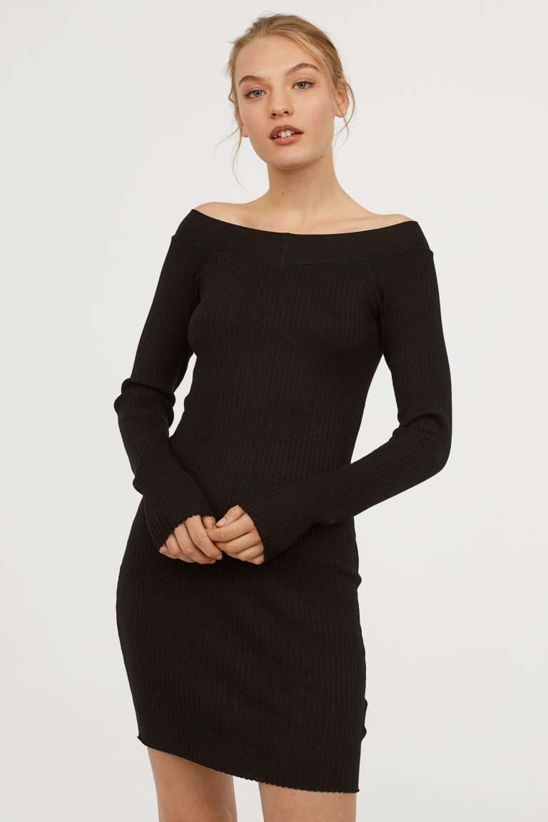 ba87ef7fe0162 H&M Rib-knit Dress - Black | H&Me | Ribbed knit dress, Dresses, Rib knit