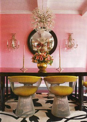 Get the look: Sputnik Bubbles Glass Chandelier.  Gold, brass, pink, black + white creates a hollywood regency style dining room set for glamorous entertaining.