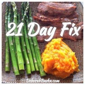 Flank steak, asparagus, mashed sweet potatoes