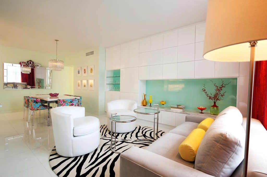 Modern Miami Beach Apartment With Minimalist Living Room Round Zebra Rug Decor Ideas Interior Pixels