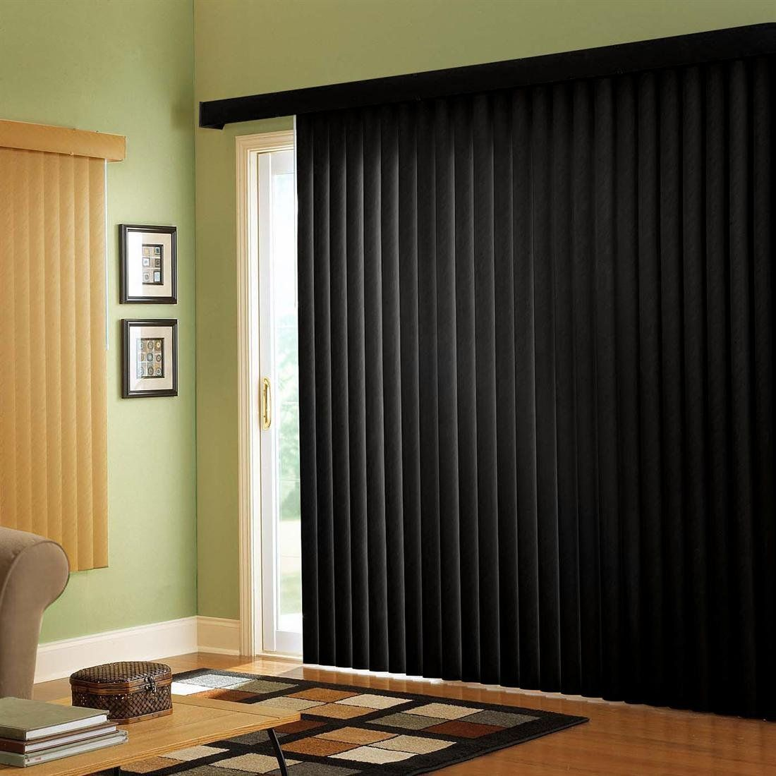 Great Black Vertical Blinds (white On The Reverse Side) For The Patio Doors