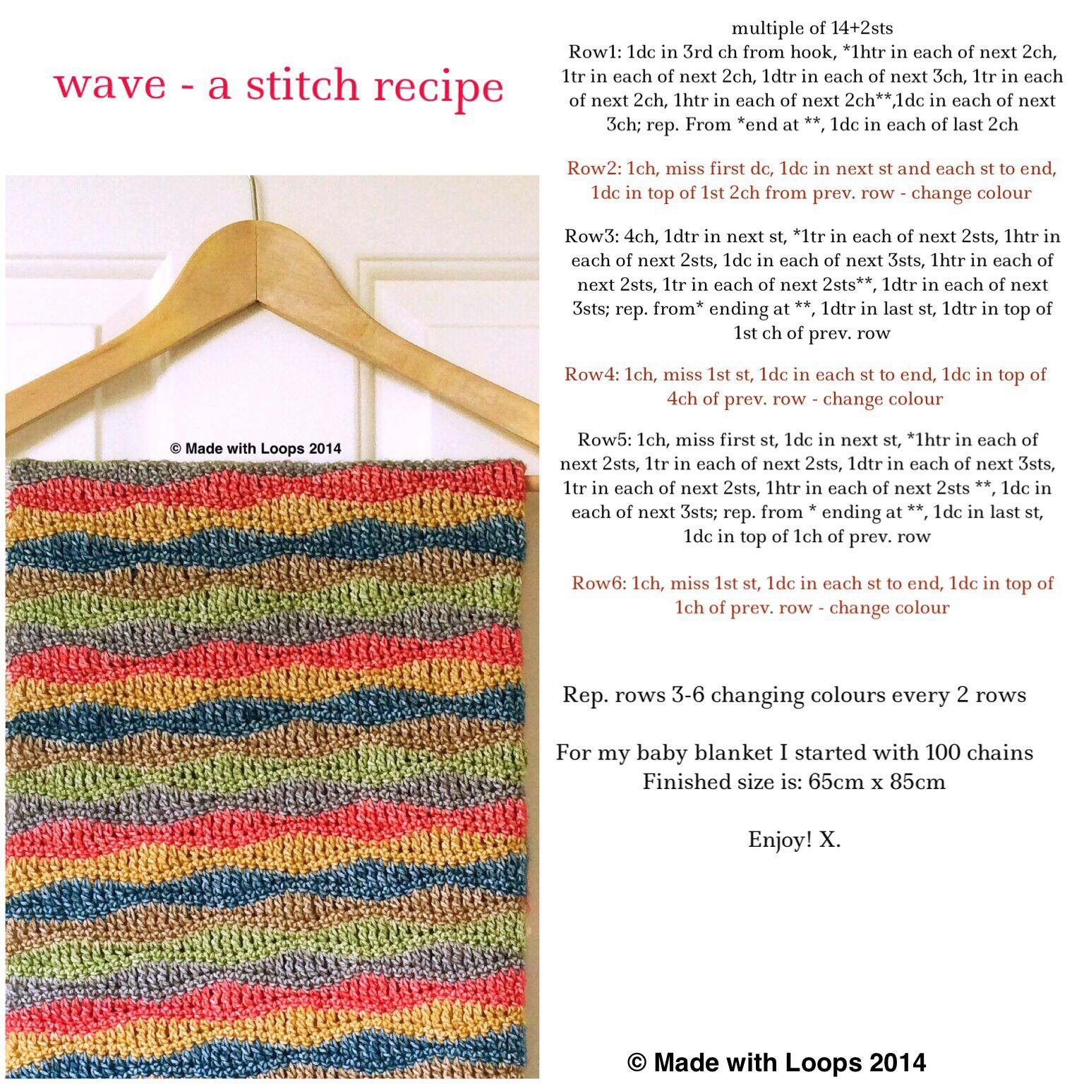 Baby Blanket - Free Pattern at www.madewithloops.co.uk   Crochet ...