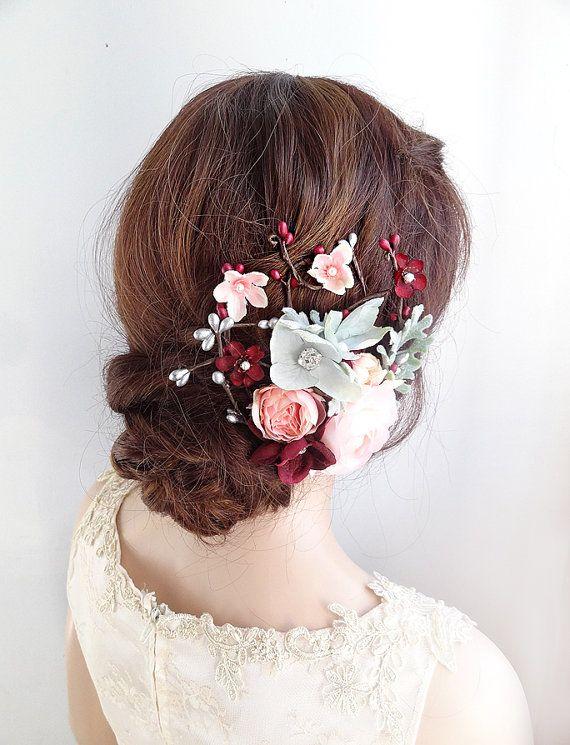 Accessori per capelli sposa fermaglio per capelli sposa Matrimonio Bordeaux,  Mollette Per Acconciature Da Nozze