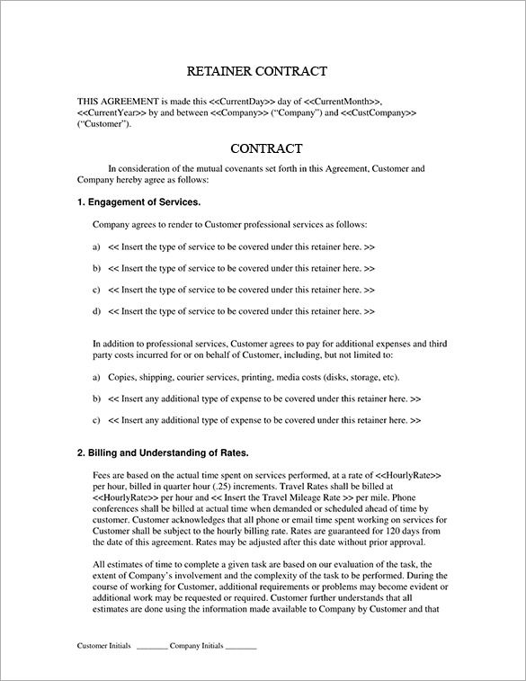 4+ Retainer Contract Templates u2013 Free Word, PDF Format Download - sample retainer agreements