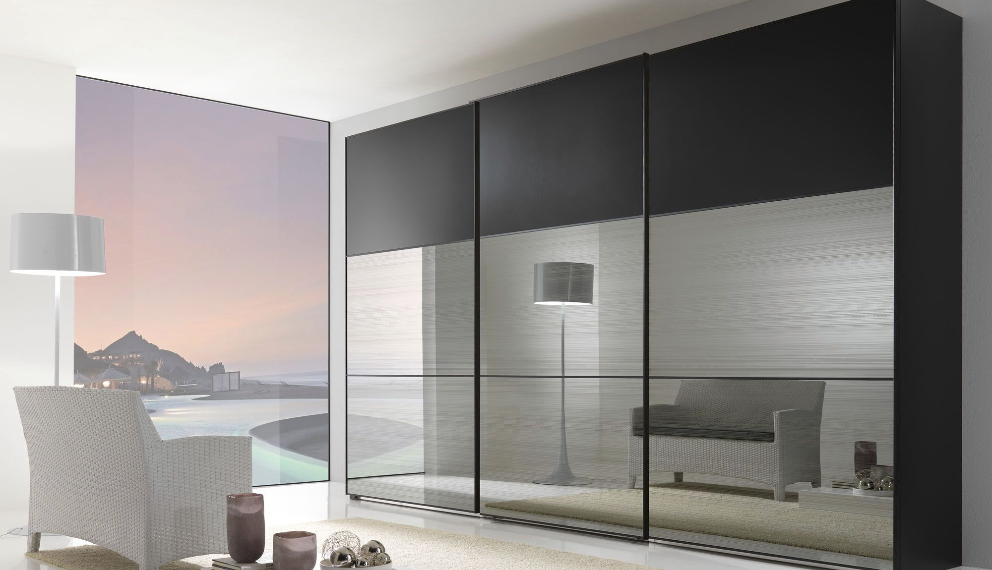 Modern mirror sliding wardrobe closet door with three for Bedroom ideas with built in wardrobes