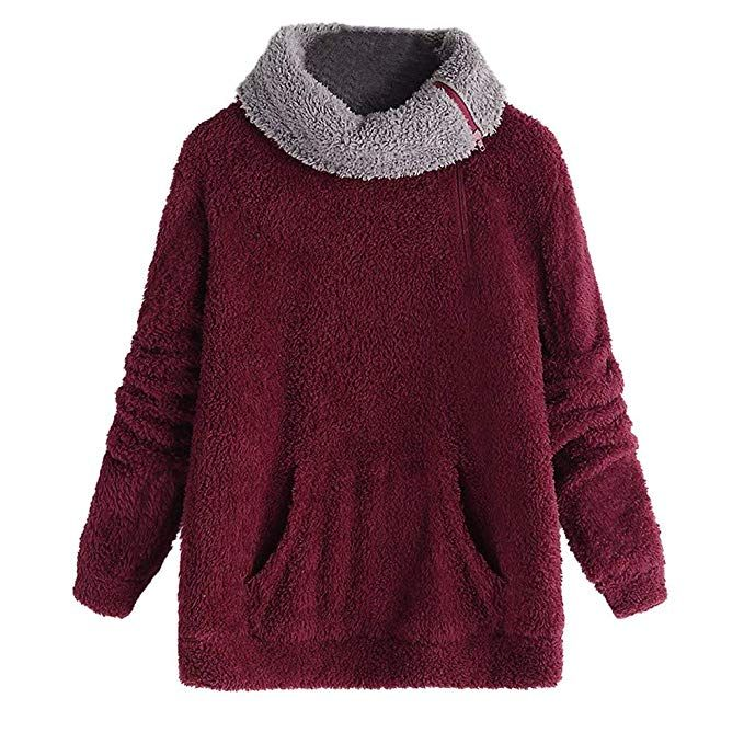 TOPKEAL Warmer Langarm Reißverschluss Hoodie Pullover Damen Herbst Winter  Kapuzenpullover Sweatshirt Winterpullover Jacke Mantel Tops Mode 0d1286a3df