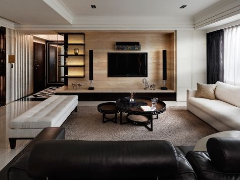 Modern Living Room Home Theater black and white palette, clean, masculine vibe // modern living
