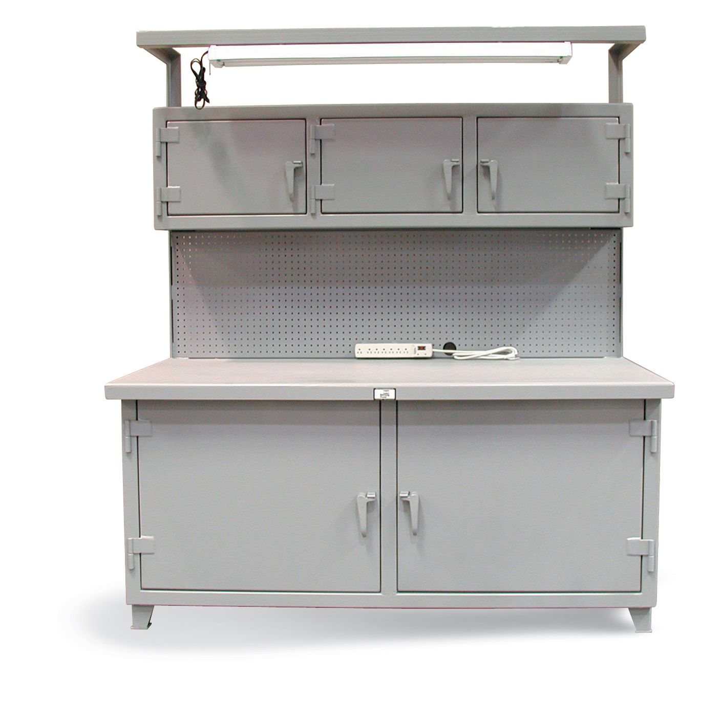 Cabinet Workstation With Upper Compartments With Pegboard   Cabinet  Workstation With 3 Upper Compartments And 2lower Compartments And Light,  And Pegboard ...