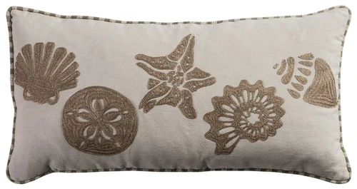 Seashore Embroidered Shell Pillow In 2020 Oblong Throw Pillow Coastal Throw Pillows Throw Pillows
