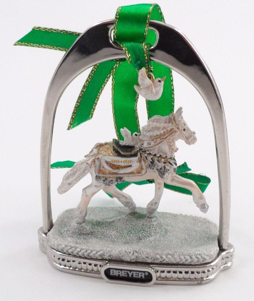 White dove christmas ornaments - 2008 Breyer Noelle White Horse Peace Dove Silver Stirrup Christmas Ornament