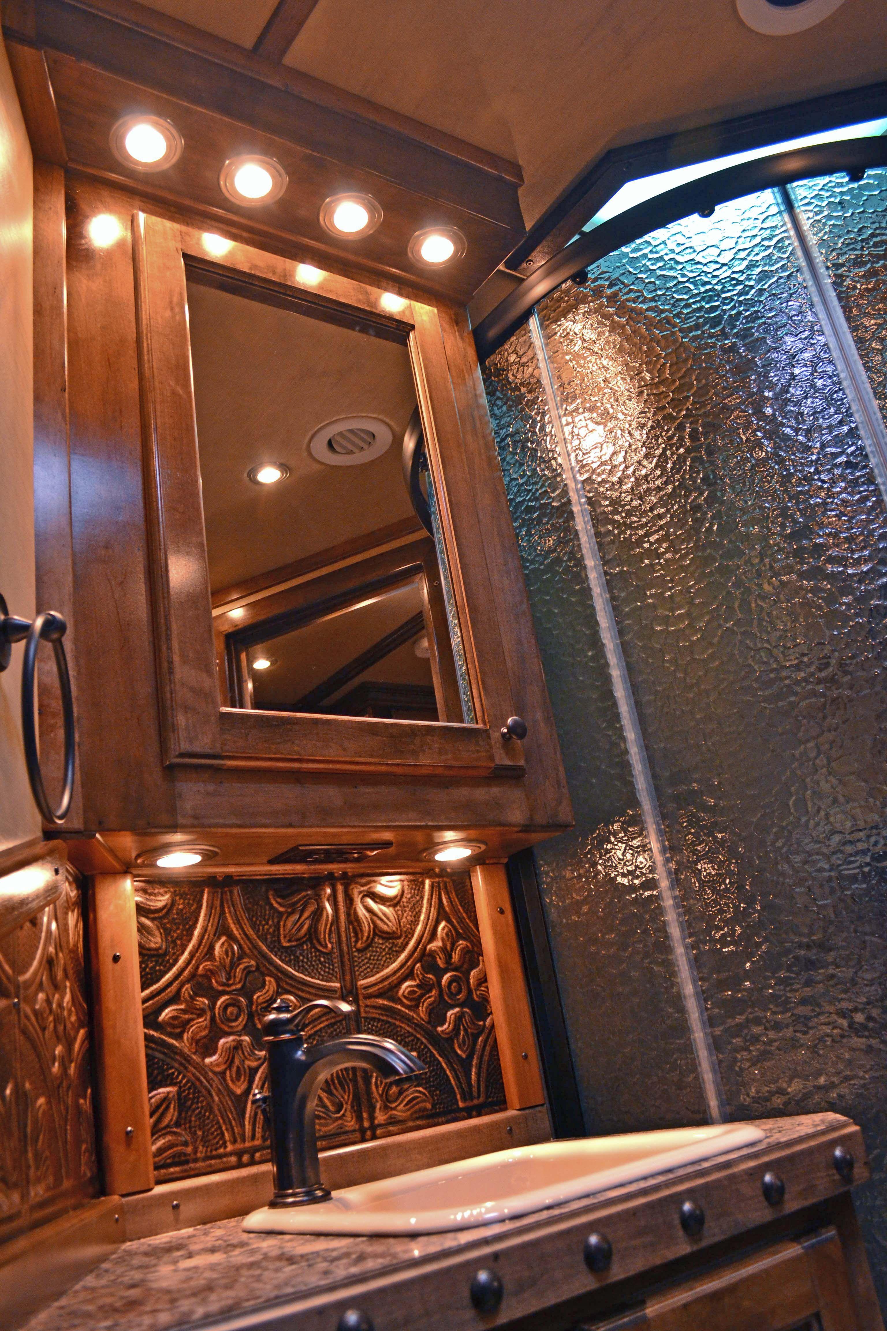 Outlaw conversions custom living quarters horse trailer interiors outlaw conversions custom living quarters horse trailer interiors stamped tin backsplash bronze facet dailygadgetfo Image collections