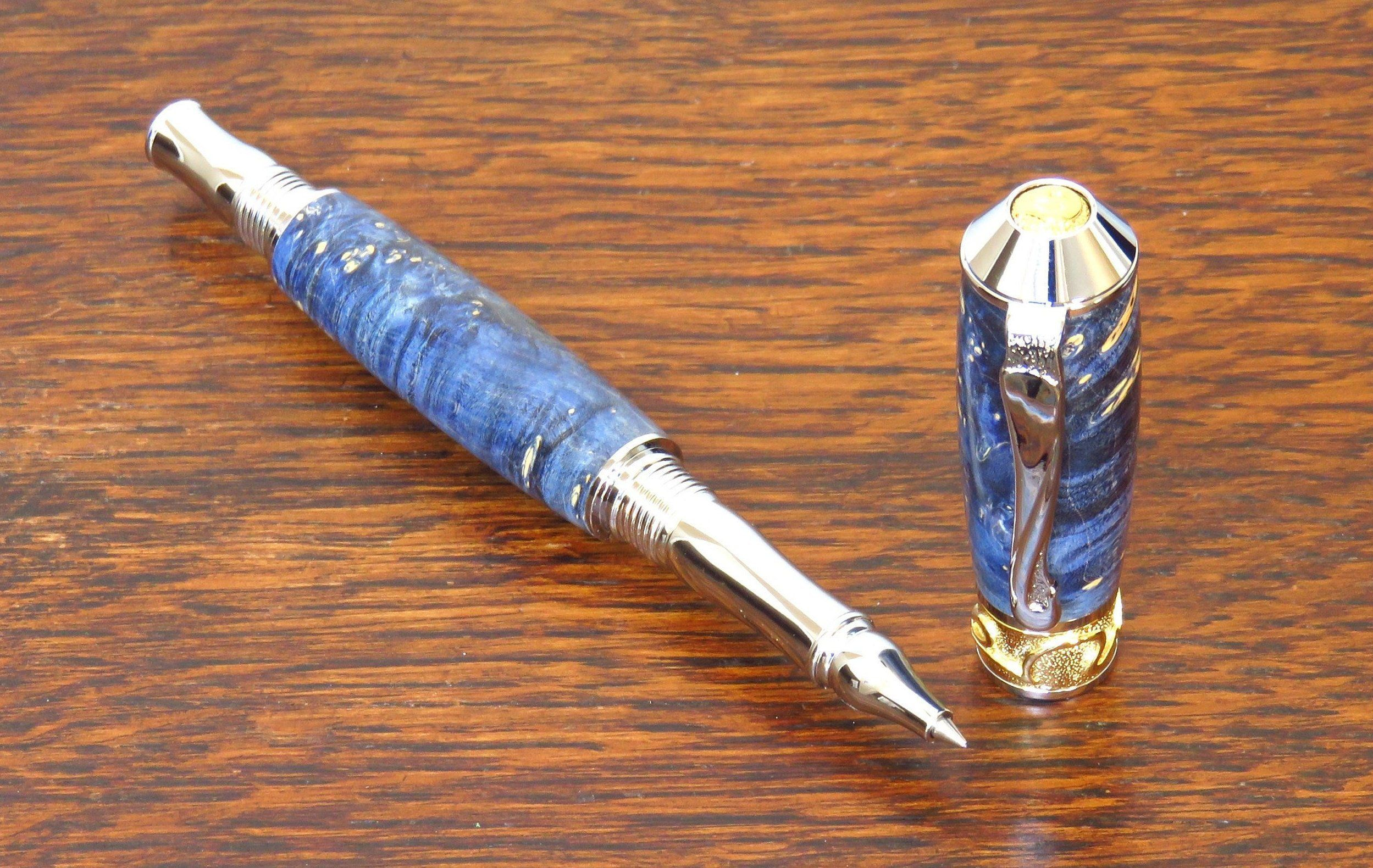 Blue Box Elder Burl Custom Made Rollerball Pen