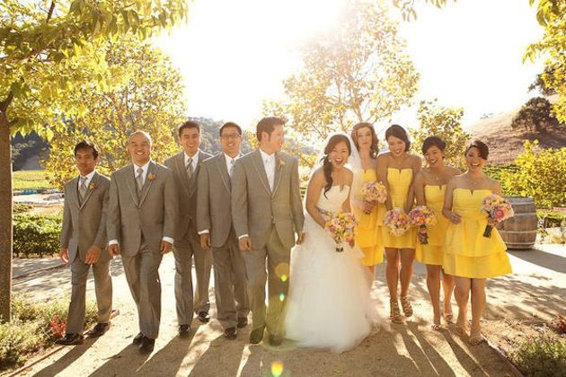 Modern Sunshine Yellow Grey And Pink Winery Wedding Colors Are Perfect Together