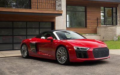 Download imagens Audi R8 Spyder, V10 Plus, 2017, R8 vermelho, carro desportivo, Carros alemães, Audi besthqwallpapers.com