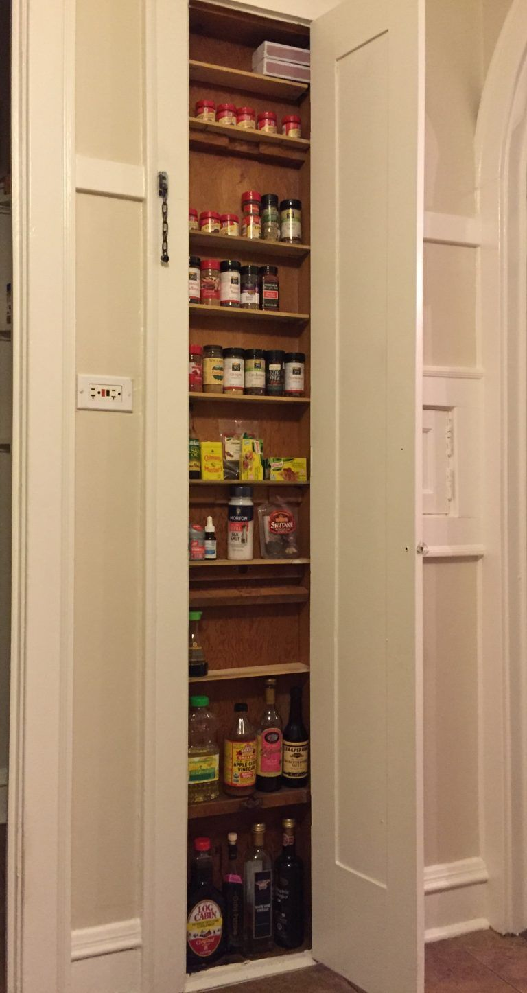A Very Shallow Between The Studs Built In Spice Cabinet Diy