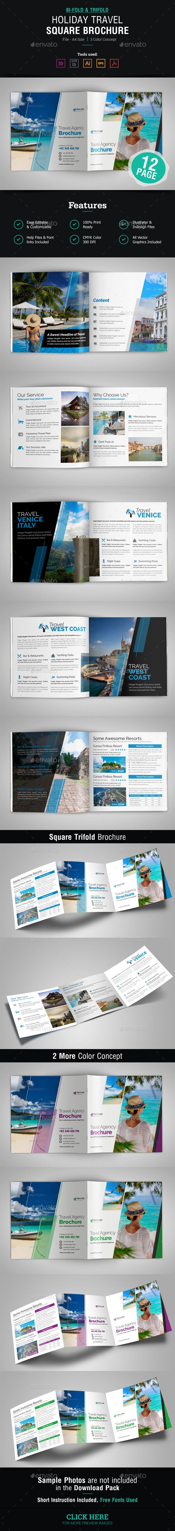 Holiday Travel Square Bifold & Trifold Brochure Template Vector ...