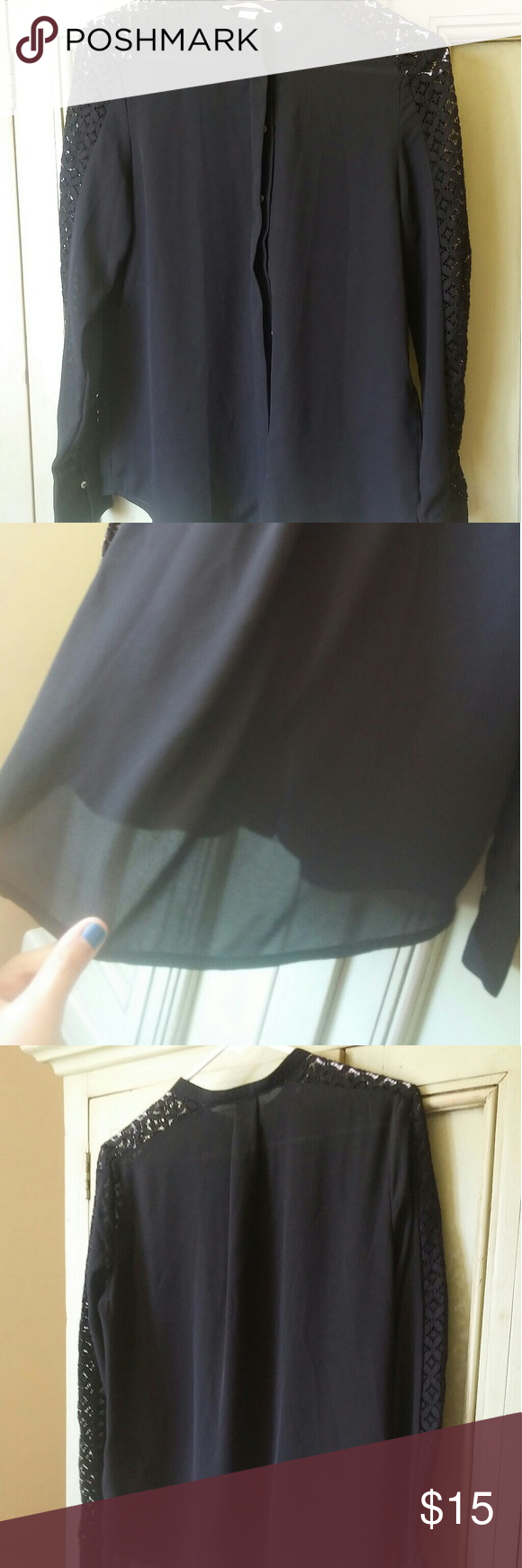 Black  Button Up Blouse Nwt black Button Up Blouse size 4 fits small and xs as well H&M Tops Blouses