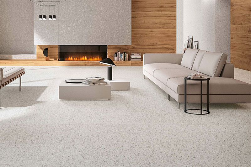 Marvel Terrazzo White Matt 60 Floor And Wall Tiles Tilespace Tiles Co Nz Condo Living Room Living Room Tiles Stone Look Tile #white #tiled #floor #living #room