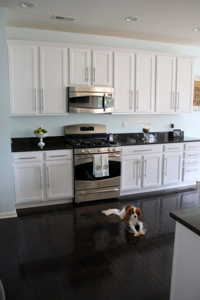 White cabinets dark floor wall color sherwin williams for Best paint colors for black and white kitchen