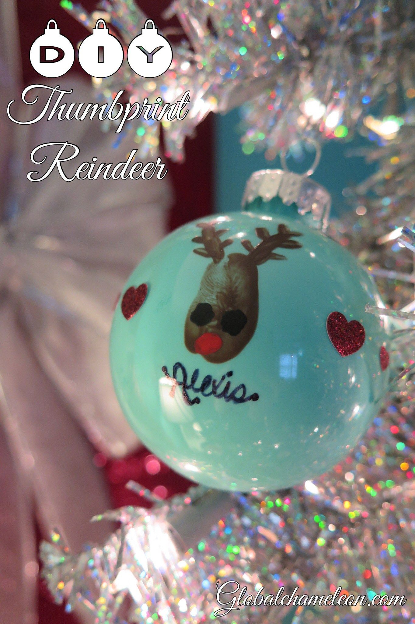 12 Days Of Diy Ornaments Day 6 Thumbprint Reindeer Ornament Reindeer Ornaments Diy Christmas Ornaments Christmas Ornaments