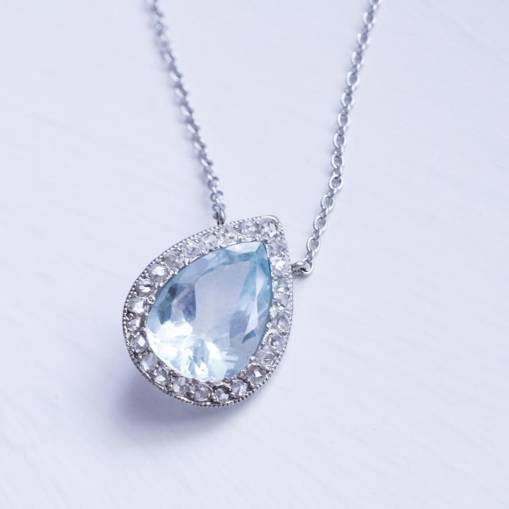 Edwardian Pear Cut Aquamarine & Diamond Millegrain Pendant