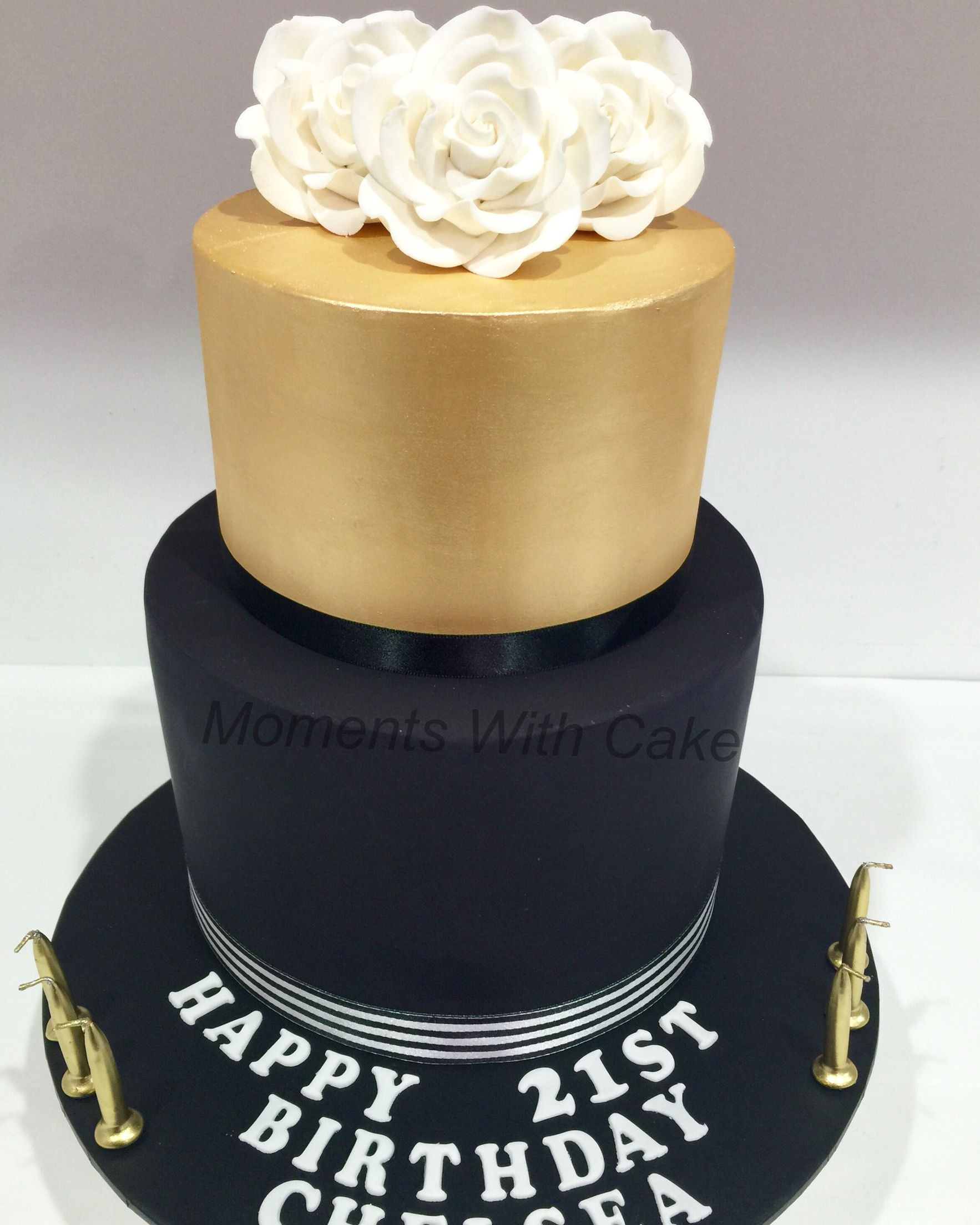 Elegant 21st Black And Gold Birthday Cake Top Tier Is Fake And