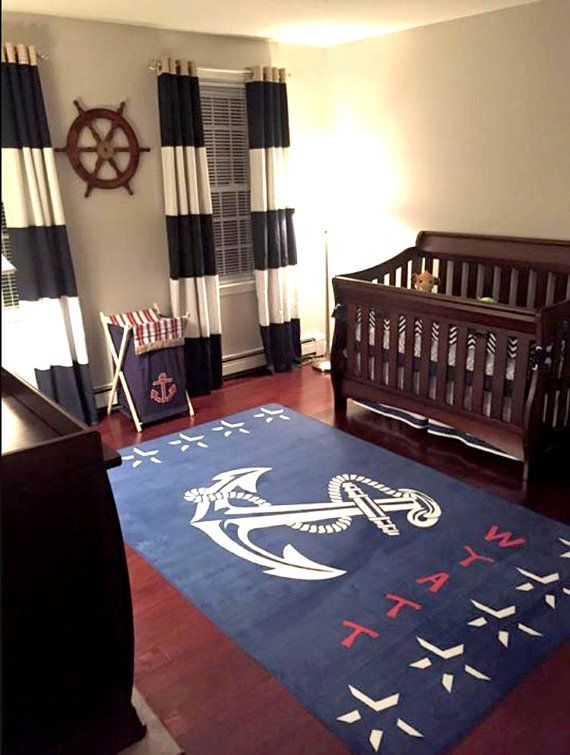 Navy Anchor Nautical Area Rug Personalized Custom Area Rug Fuzzy Nautical Mat Nautical Ru Nautical Nursery Rug Nautical Nursery Decor Nautical Baby Nursery
