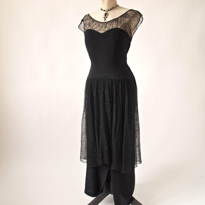 Us long dress black lace and rayon crepe drop princess waist