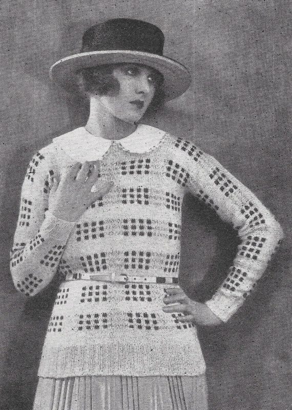 1922 pullover checkered sweater 1920s vintage knitting pattern pdf 1922 pullover checkered sweater 1920s vintage knitting pattern pdf instant download dt1010fo
