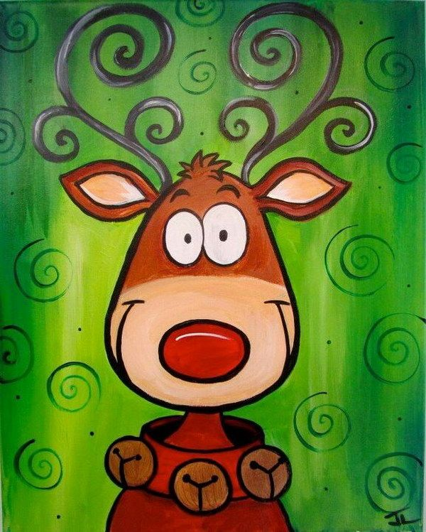 surprising Cute Christmas Canvas Paintings Part - 3: Cute Reindeer Christmas Canvas