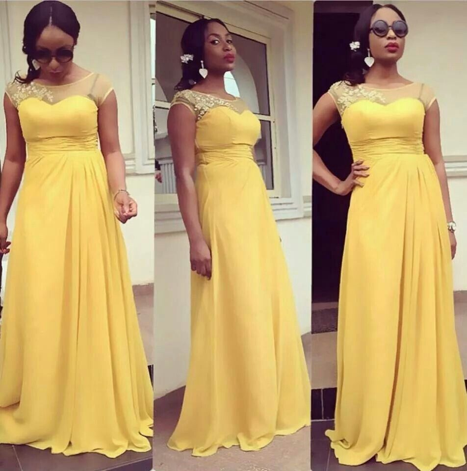yellow bridesmaid gown