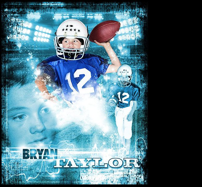i can create a custom football sports poster of your child using