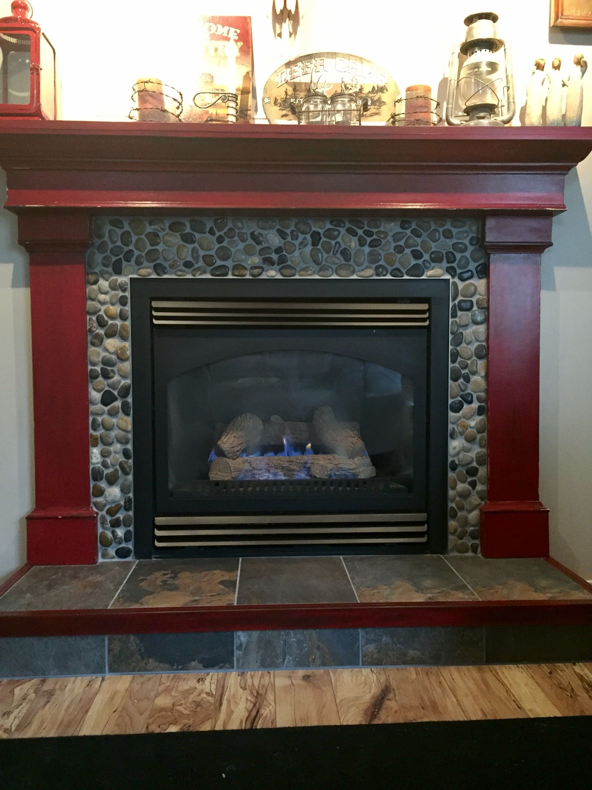 Fireplace And Mantel Painted White Swiss Coffee Was Flat Red Brick W Dark Oak Mantel As A Quick Simple Fix I Insisted Home Staging Tips Oak Mantel Home