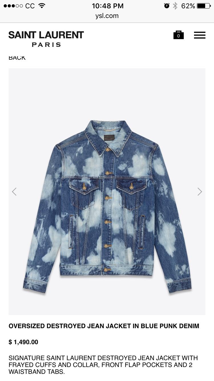1e48d342c9f YSL bleached denim jacket BTS V | FIRE MV $1,490.00 | oversized destroyed jean  jacket in blue punk denim | Yves Saint Laurent