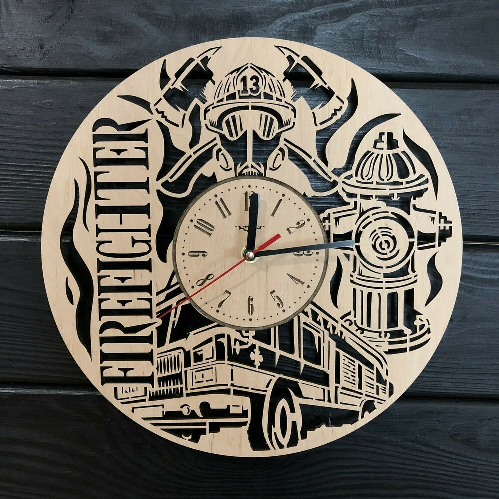 Firefighter Wall Clock Wood Ofiice Decor Best Man Gift Unique