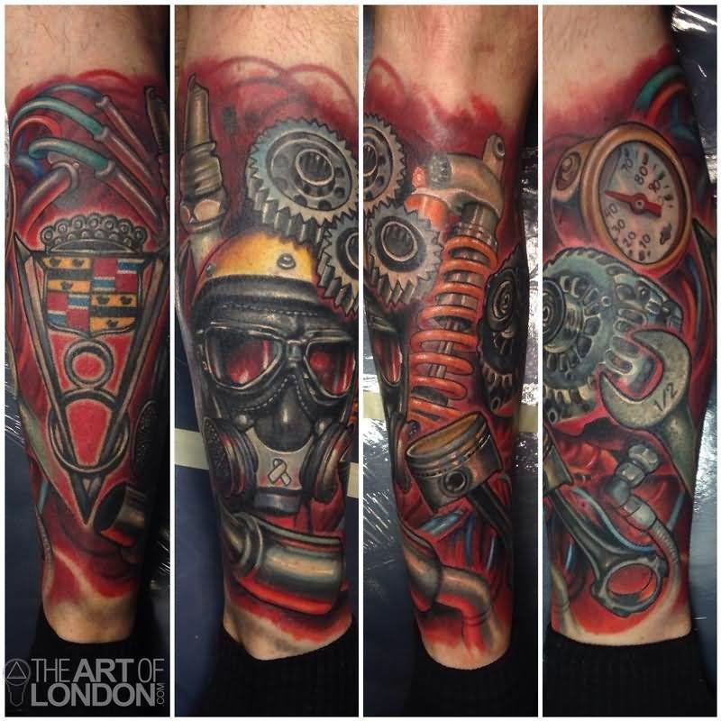 Automotive Car Engine Parts Tattoo On Leg | Car tattoos ...
