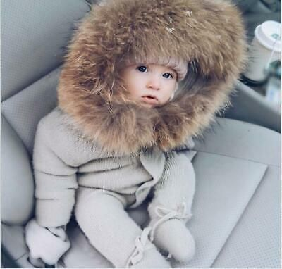 0  1 Years Old Paneled Hooded Single-breasted Baby Coat Fur Collar Winter Ske15 …