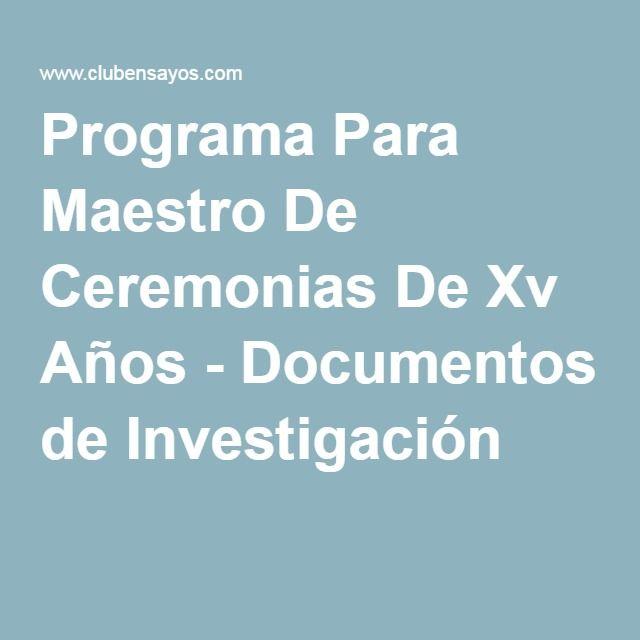 Programa Para Maestro De Ceremonias De Xv Años