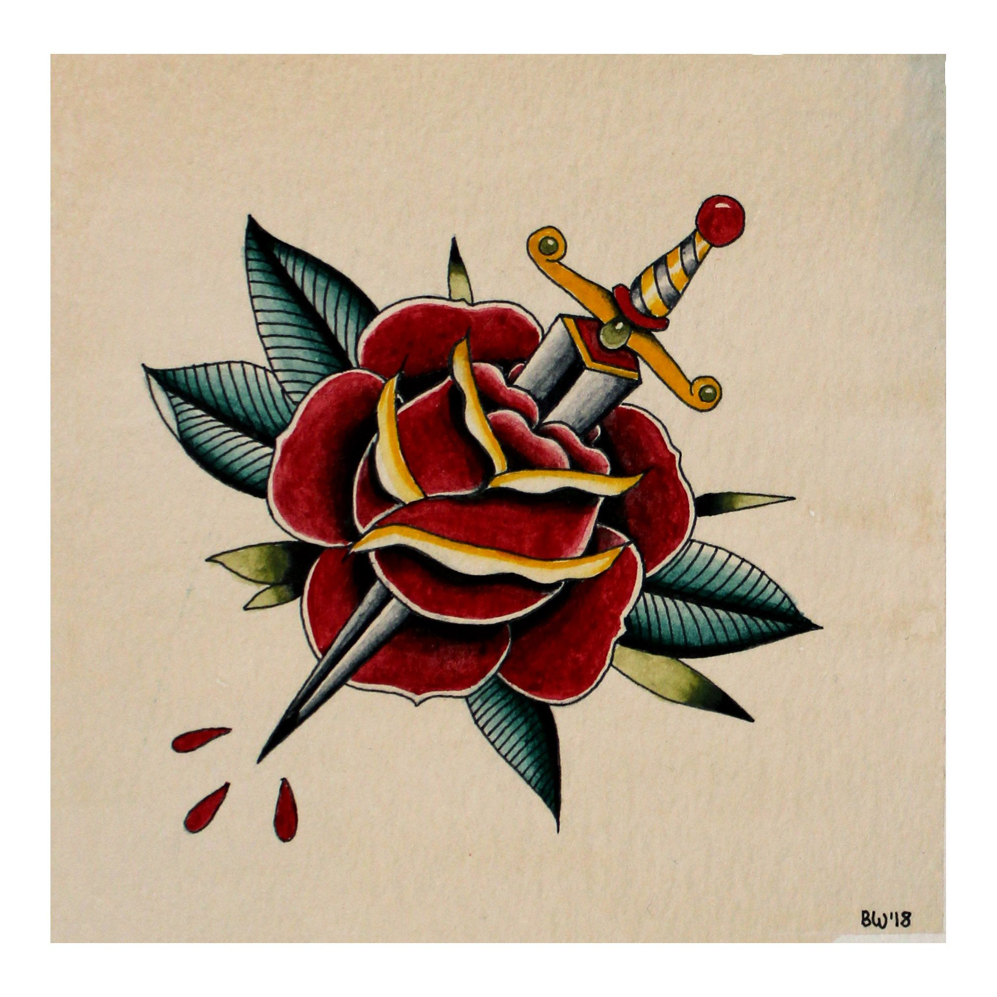 A Small Traditional Rose And Dagger Watercolor Tattoo Flash
