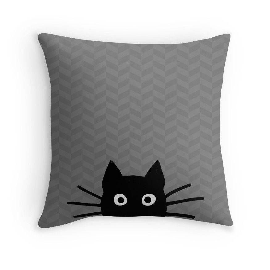 Black Cat Face Throw Pillows