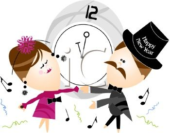 happy new year couple dancing clipart illustration