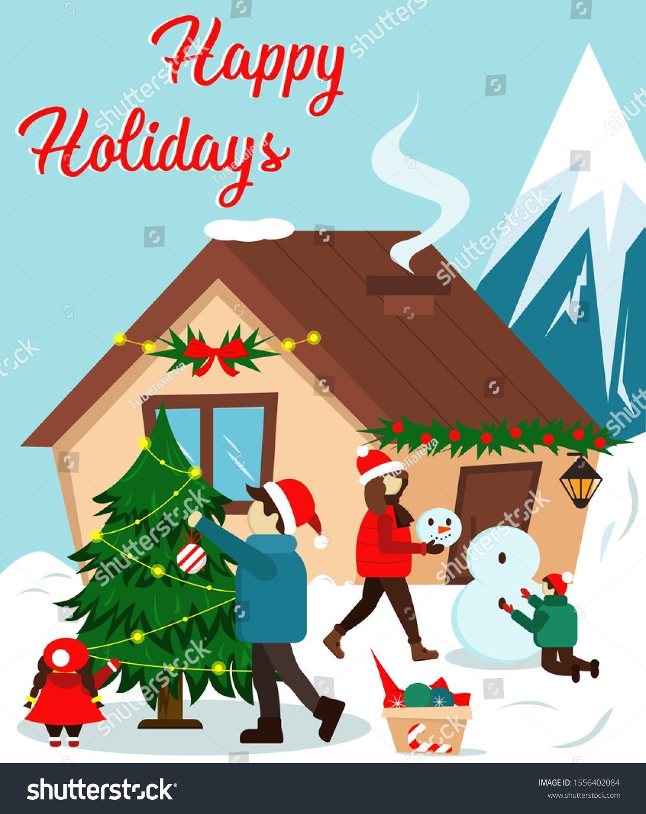 Photo of Vector Illustration Happy Holidays House Christmas Vector de stock (…