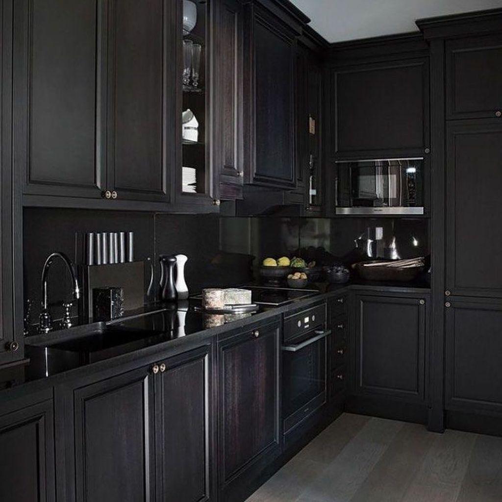 32 Fabulous Black Kitchen Cabinets You Definitely Like In 2020 Black Kitchens Kitchen Cabinet Design Interior Design Kitchen