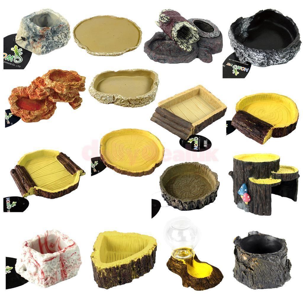 Food water dish bowl feeder terrarium decor for reptile tortoise
