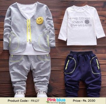 e349ea50473e Handsome 3 Piece Grey Kids Designer Tracksuits for Boys
